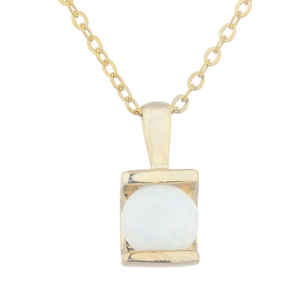 14Kt Yellow Gold Plated Opal Half Channel Pendant