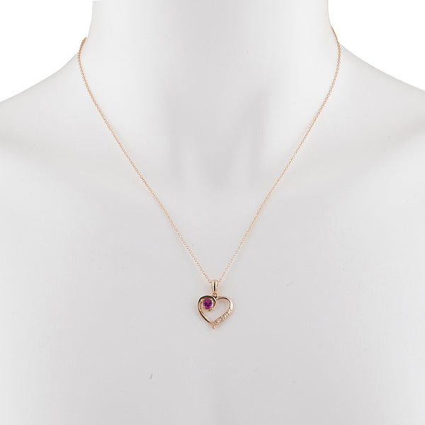 14Kt Rose Gold Plated Created Ruby & Diamond Heart Pendant