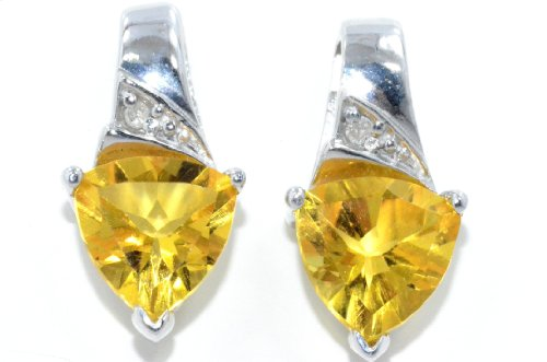 3 Ct Citrine Trillion Diamond Stud Earrings .925 Sterling Silver