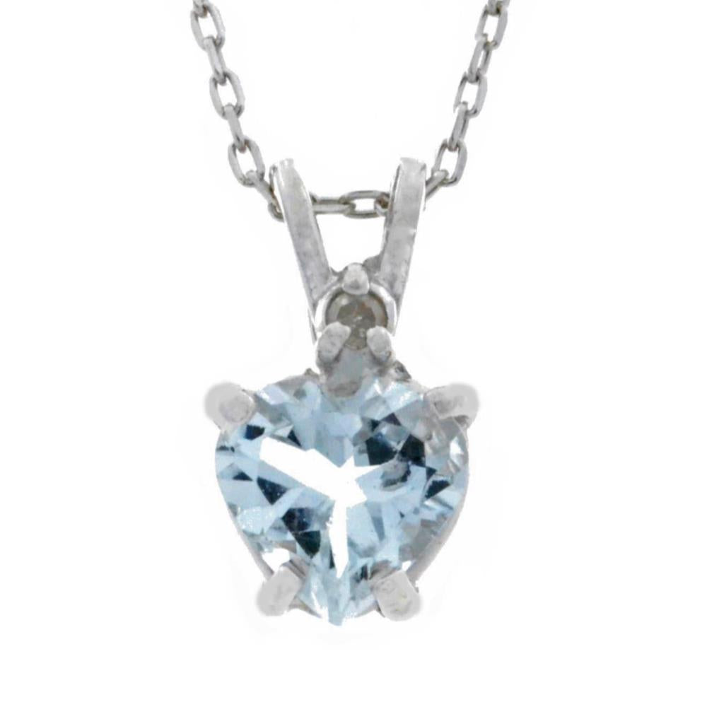 1 Ct Genuine Aquamarine & Diamond Heart Pendant .925 Sterling Silver Rhodium Finish
