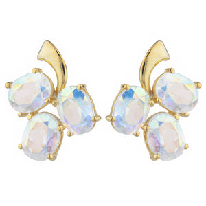 14Kt Yellow Gold Plated Natural Mercury Mist Mystic Topaz Oval Design Stud Earrings