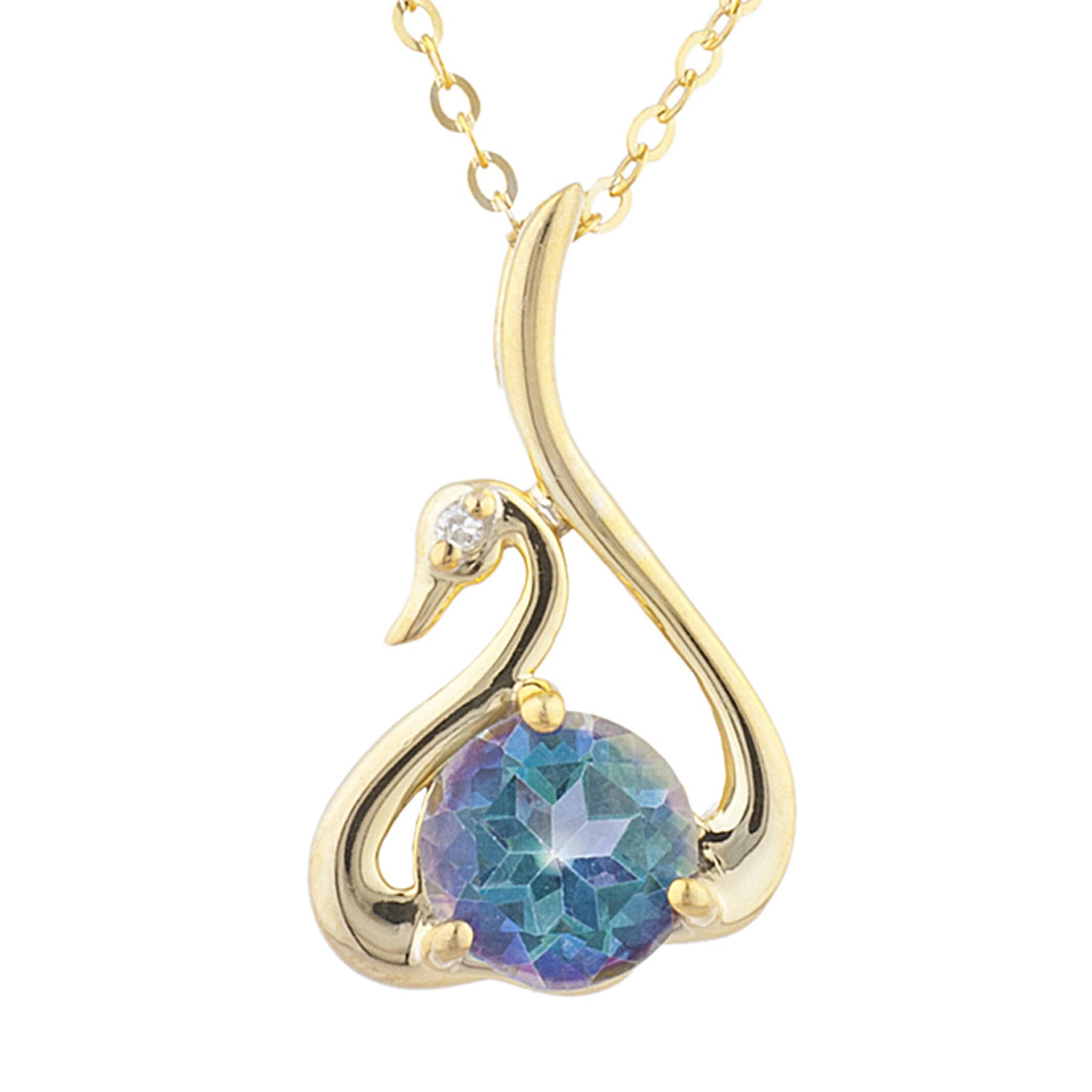 14Kt Yellow Gold Plated Natural Blue Mystic Topaz & Diamond Swan Pendant