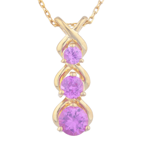 14Kt Yellow Gold Plated Pink Sapphire Round Past Present Future Pendant