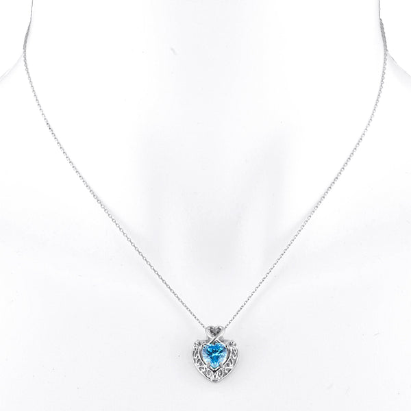 1.5 Ct Swiss Blue Topaz Heart Design Pendant .925 Sterling Silver