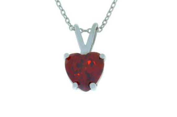 1 Ct Garnet Heart Pendant .925 Sterling Silver Rhodium Finish