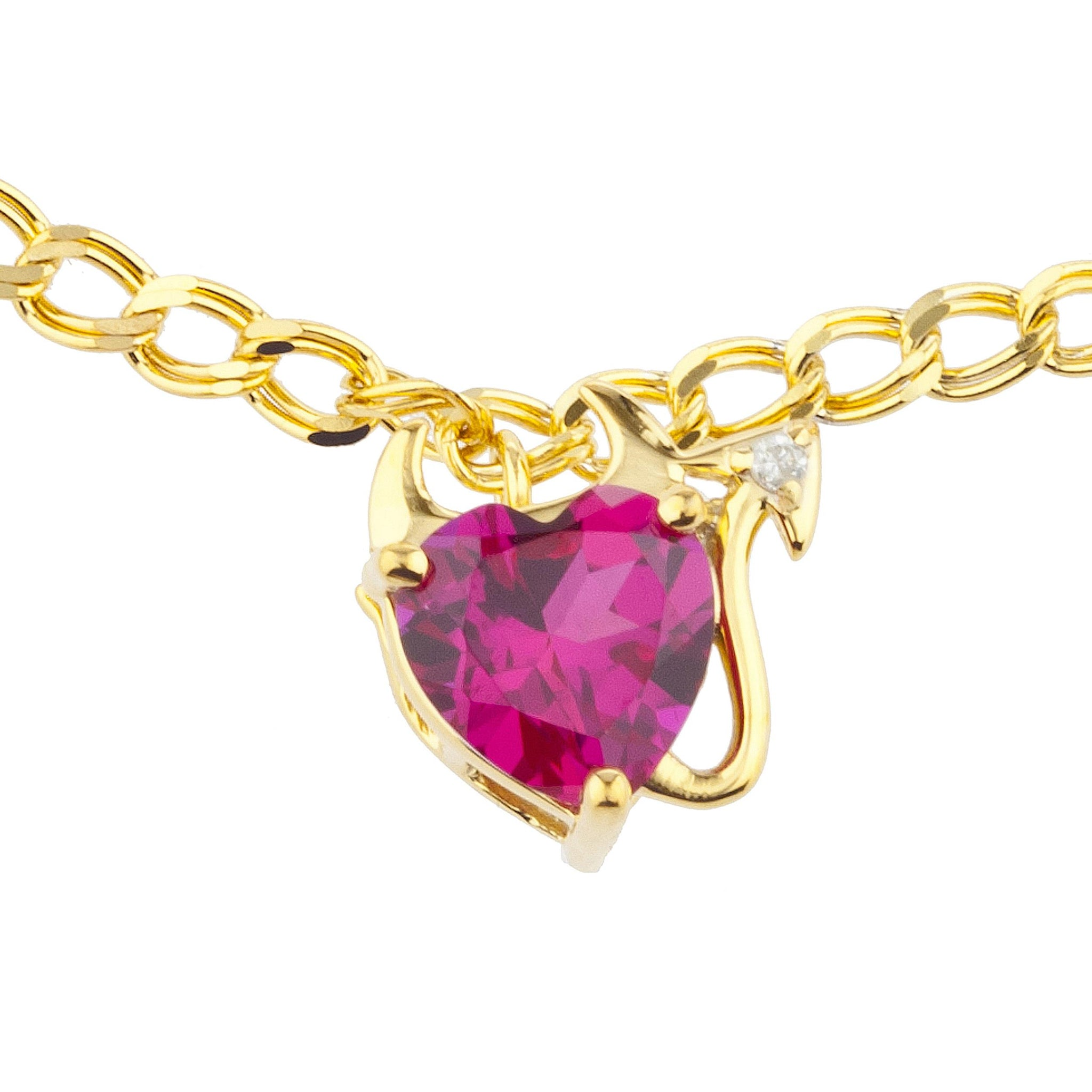 14Kt Yellow Gold Plated Created Ruby & Diamond Devil Heart Bracelet