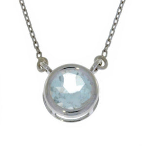 2 Ct Genuine Aquamarine Round Bezel Pendant .925 Sterling Silver Rhodium Finish