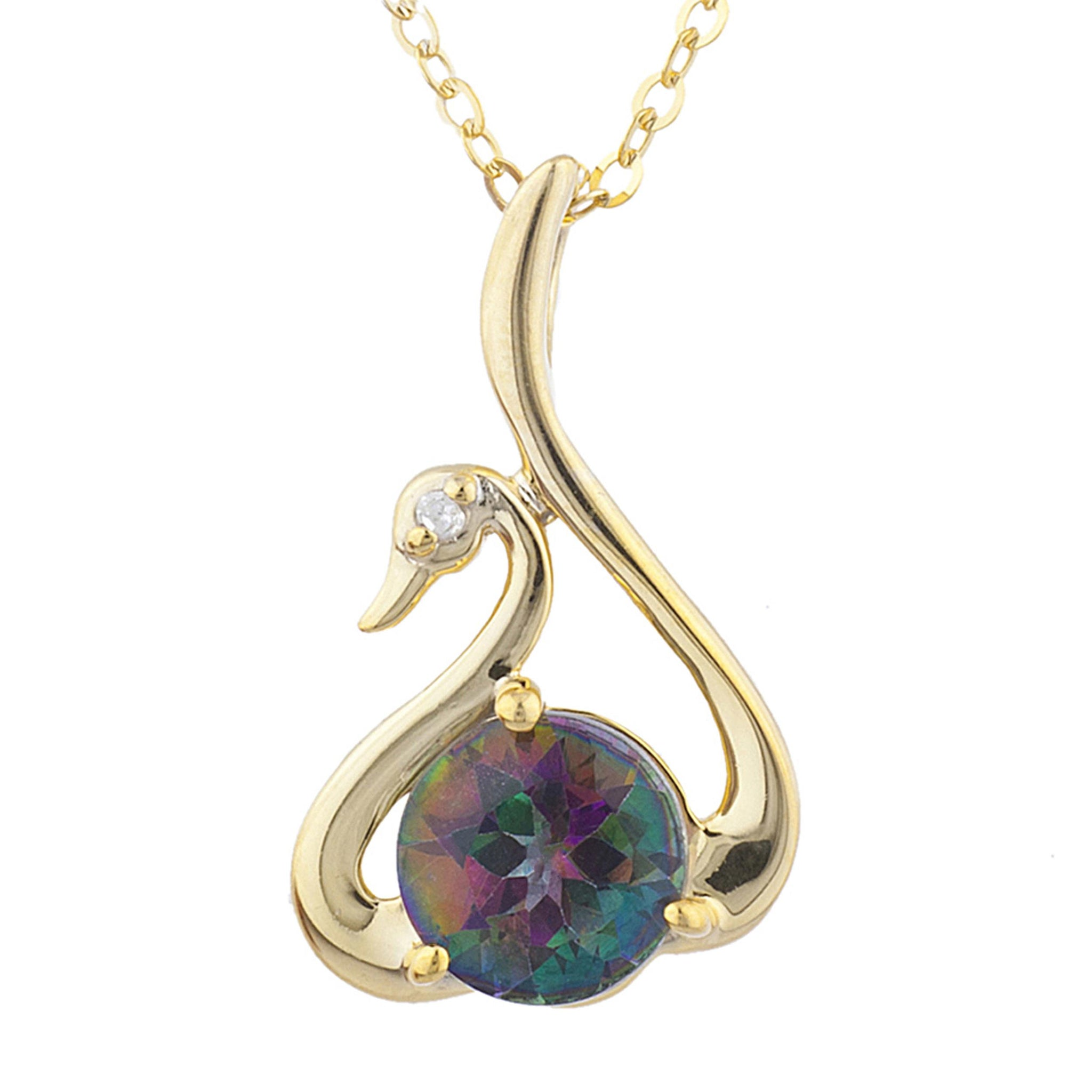14Kt Yellow Gold Plated Natural Mystic Topaz & Diamond Swan Pendant