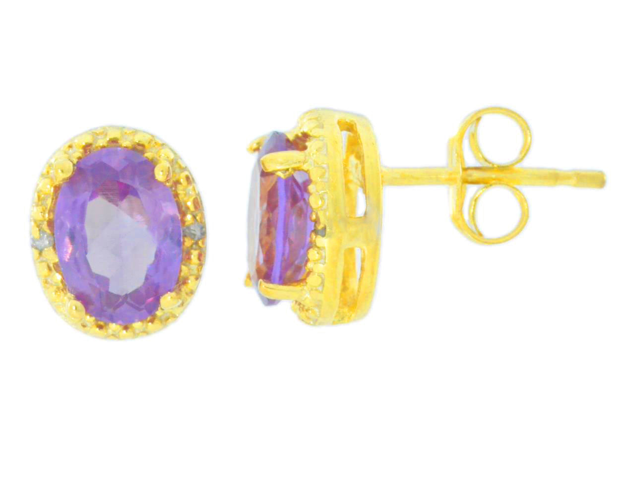 2 Ct Alexandrite & Diamond Oval Stud Earrings 14Kt Yellow Gold Plated
