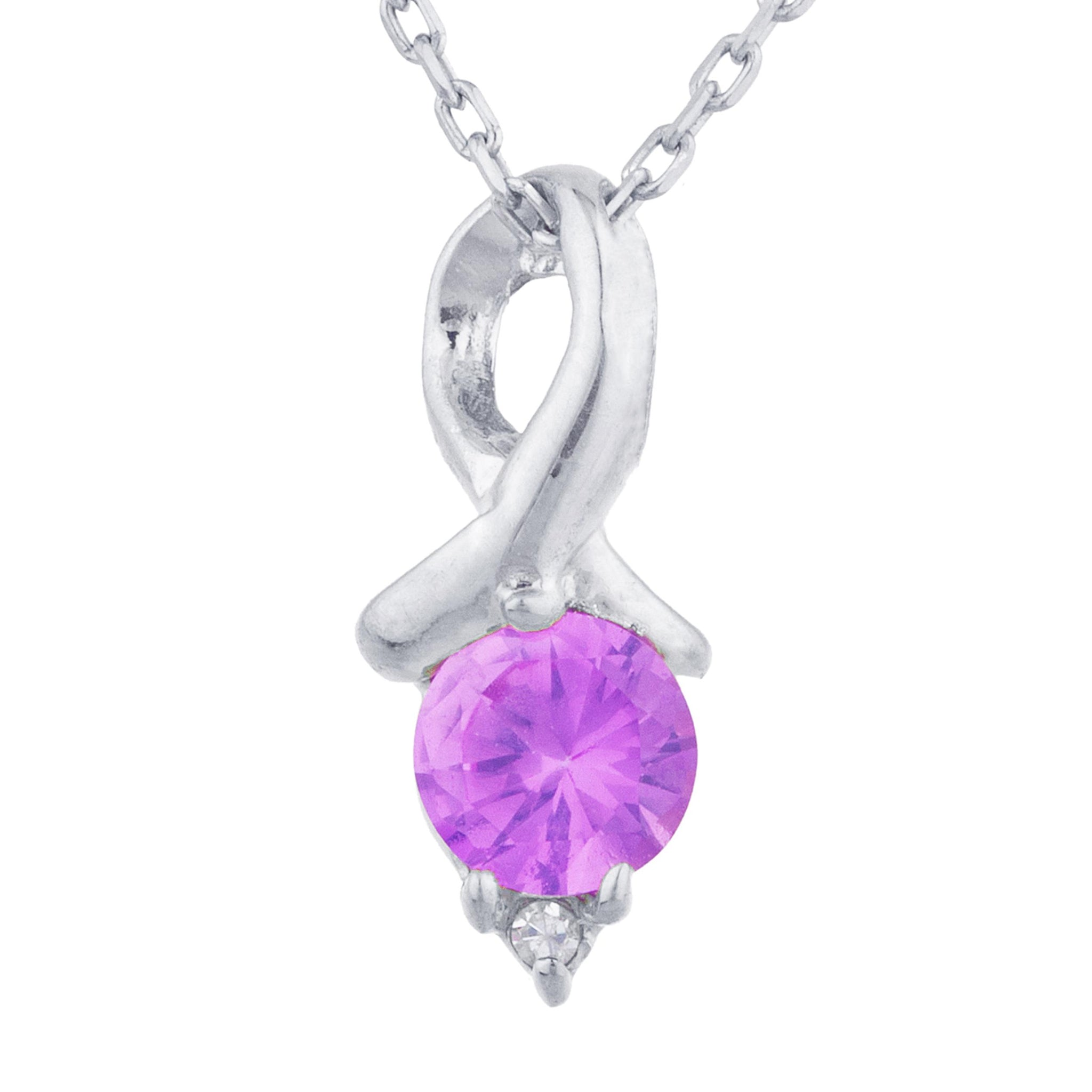 0.50 Ct Pink Sapphire & Diamond Round Design Pendant .925 Sterling Silver