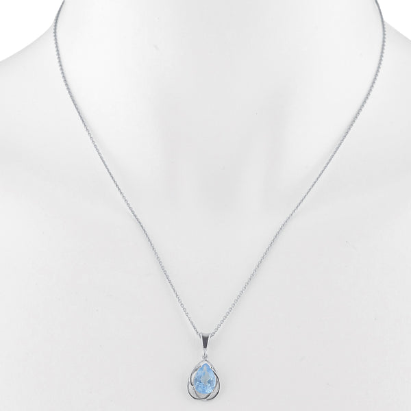 2 Ct Blue Topaz Pear Teardrop Design Pendant .925 Sterling Silver
