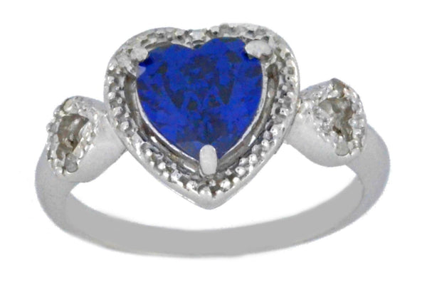 1.5 Ct Blue Sapphire & Diamond Heart Ring .925 Sterling Silver Rhodium Finish