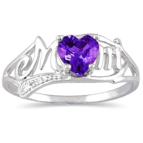 Elizabeth Jewelry 0.50 Ct Amethyst & Diamond Heart Ring .925 Sterling Silver Rhodium Finish qjfMTgSI3