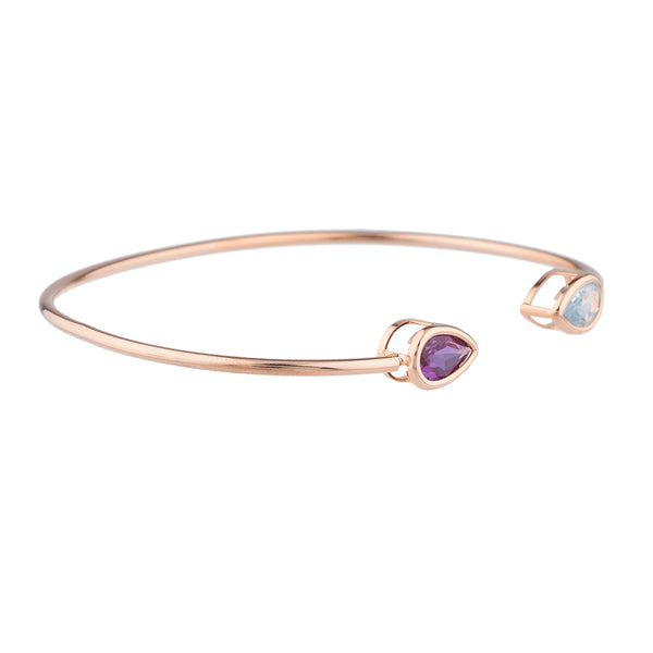 Aquamarine & Alexandrite Pear Bezel Bangle Bracelet 14Kt Rose Gold Plated Over .925 Sterling Silver