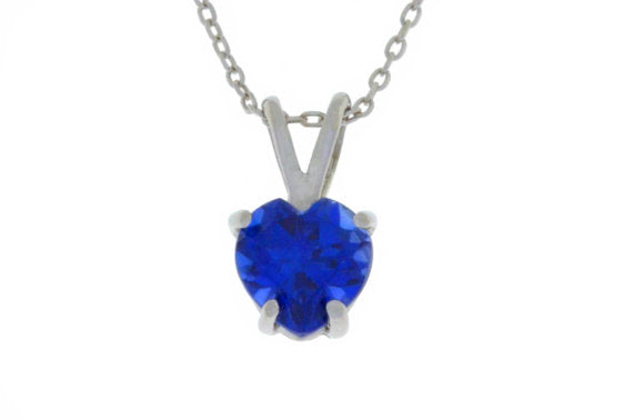 1 Ct Blue Sapphire Heart Pendant .925 Sterling Silver Rhodium Finish
