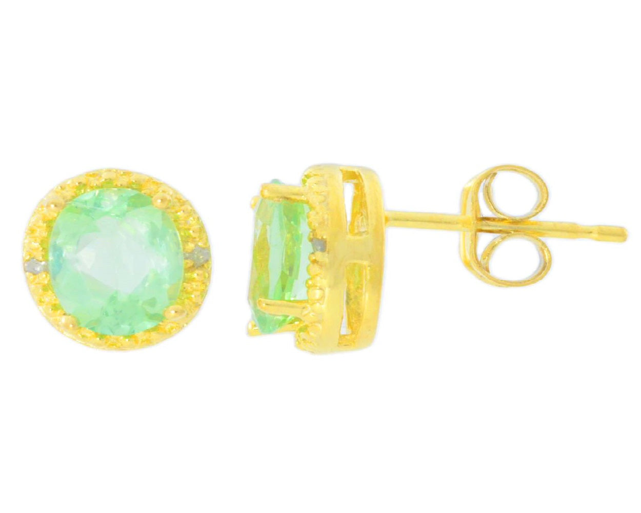 2 Ct Green Sapphire & Diamond Round Stud Earrings 14Kt Yellow Gold