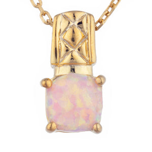 14Kt Yellow Gold Plated Pink Opal Round Design Pendant