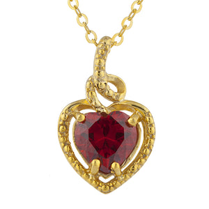 14Kt Gold Garnet Heart Design Pendant Necklace