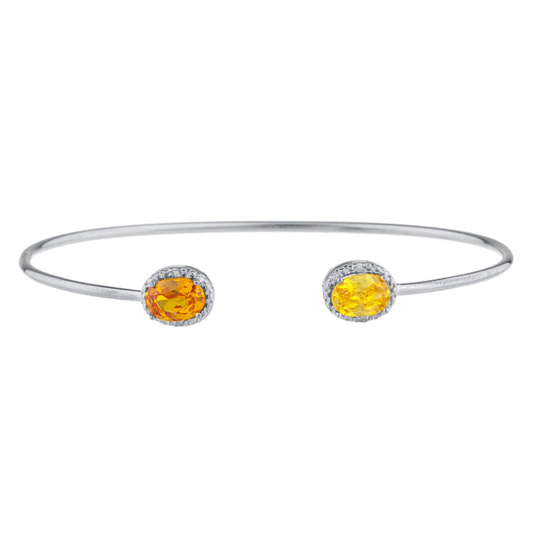 Orange & Yellow Citrine Diamond Bangle Oval Bracelet .925 Sterling Silver Rhodium Finish