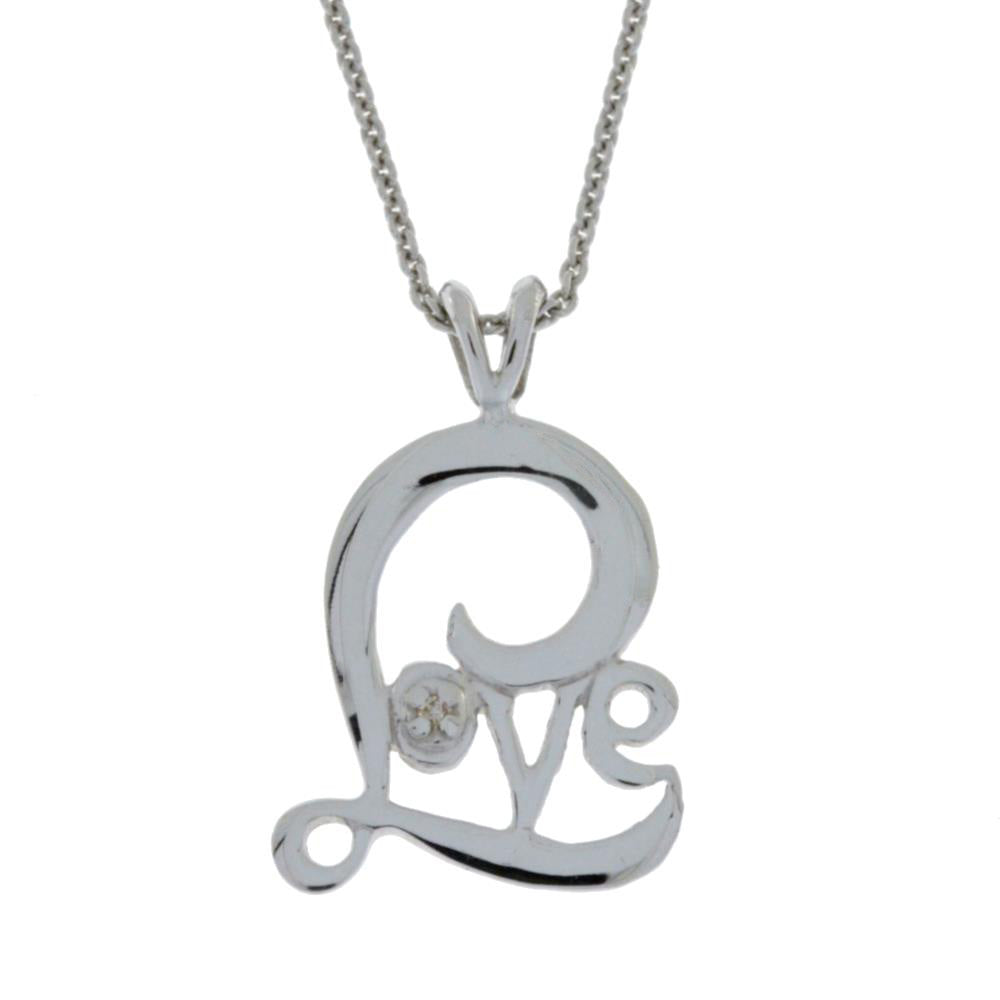 Natural Diamond Love Necklace Pendant .925 Sterling Silver