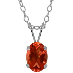 1.5 Ct Orange Citrine Oval Pendant .925 Sterling Silver Rhodium Finish