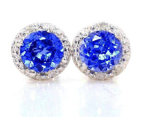2 Ct Created Blue Sapphire & Diamond Round Stud Earrings .925 Sterling Silver