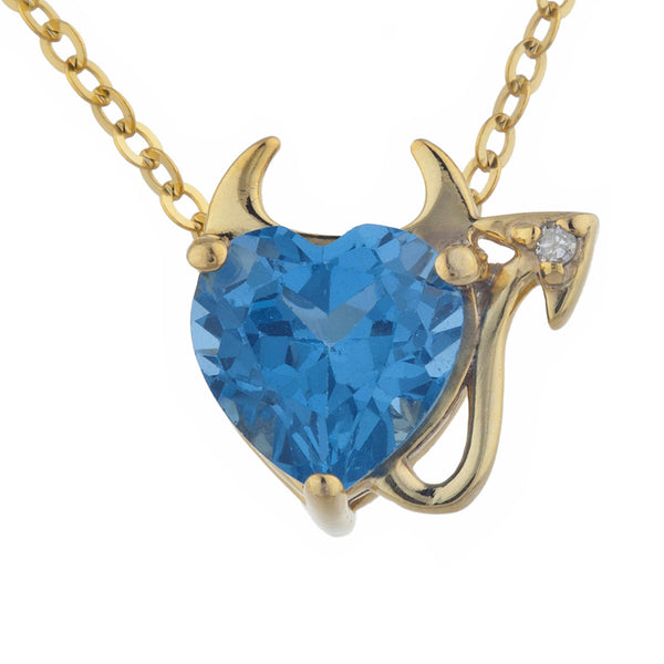 1.5 Ct London Blue Topaz & Diamond Devil Heart Pendant 14Kt Yellow Gold Silver