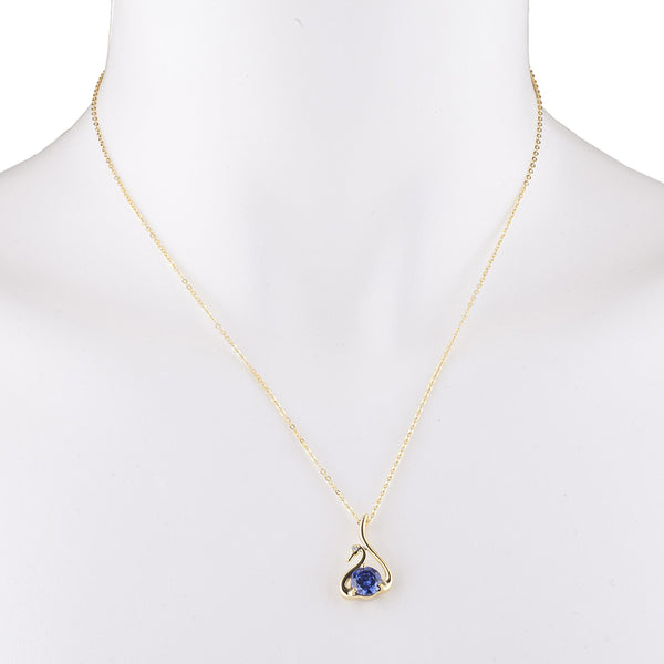 14Kt Yellow Gold Plated Tanzanite & Diamond Swan Pendant