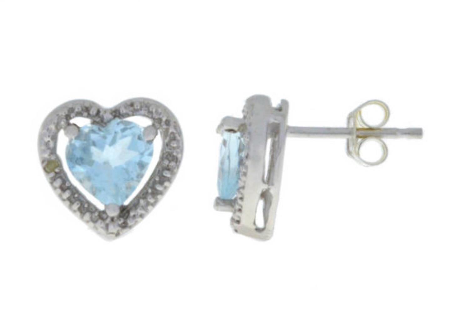 Genuine Aquamarine & Diamond Heart Stud Earrings .925 Sterling Silver