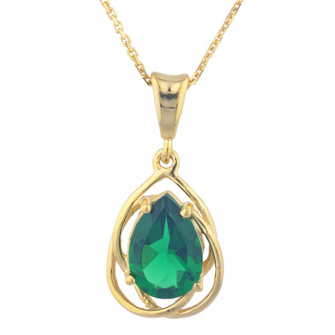 14Kt Yellow Gold Plated Emerald Pear Teardrop Design Pendant
