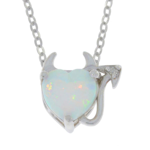 Opal & Diamond Devil Heart Pendant .925 Sterling Silver