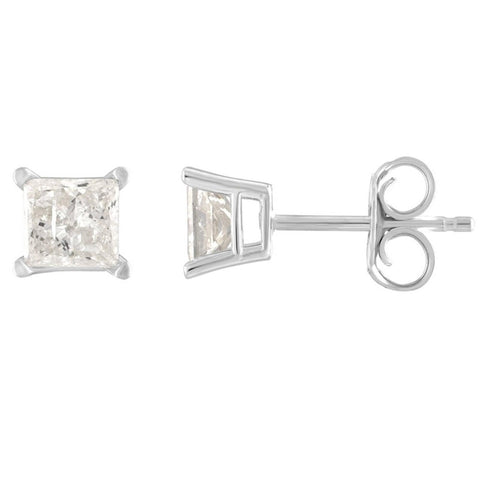 14Kt White Gold 1 Ct Genuine Natural Diamond Princess Stud Earrings