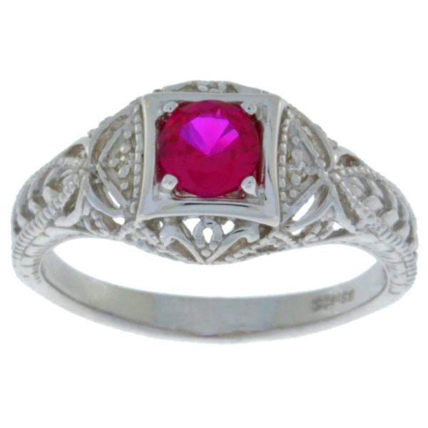 0.50 Ct Created Ruby & Diamond Round Ring .925 Sterling Silver