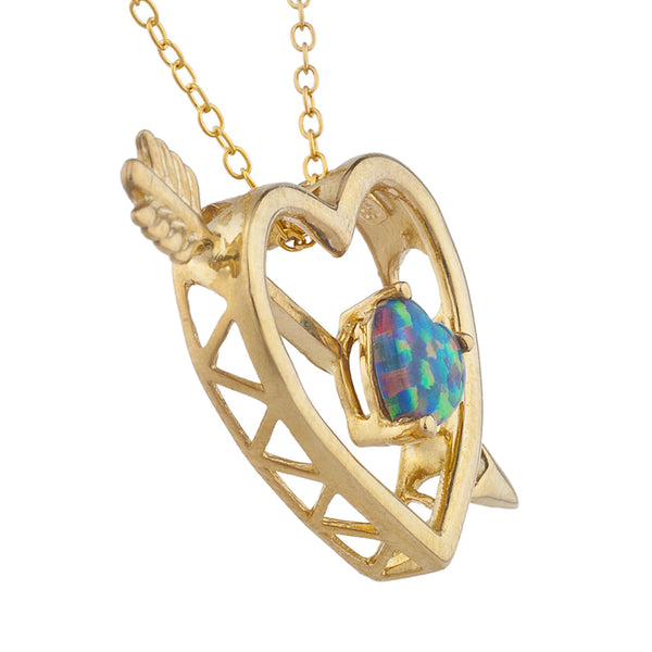 14Kt Yellow Gold Plated Black Opal Heart Bow & Arrow Pendant