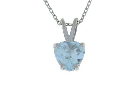 1 Carat Genuine Aquamarine Heart Pendant .925 Sterling Silver Rhodium Finish