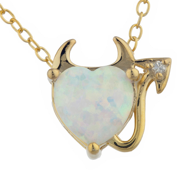 Opal & Diamond Devil Heart Pendant 14Kt Yellow Gold Silver