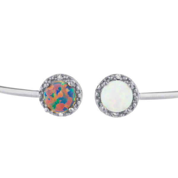 Black Opal & White Opal Diamond Bangle Round Bracelet .925 Sterling Silver Rhodium Finish