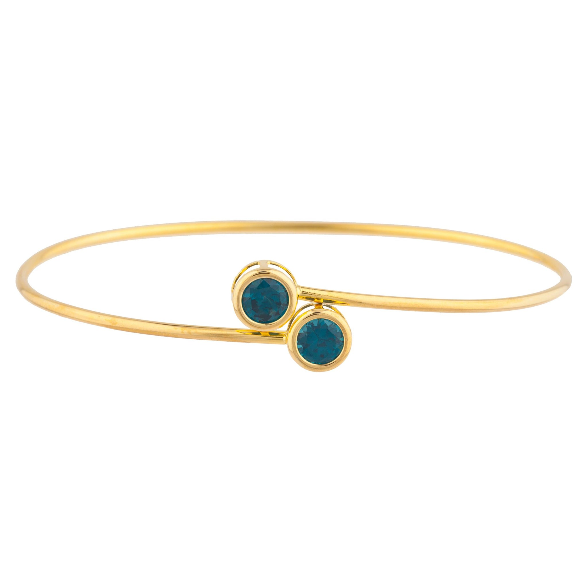 14Kt Yellow Gold Plated London Blue Topaz Round Bezel Bangle Bracelet