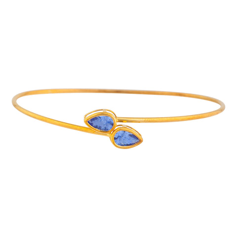 14Kt Gold Tanzanite Pear Bezel Bangle Bracelet