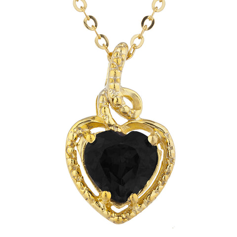 14Kt Gold Genuine Black Onyx Heart Design Pendant Necklace