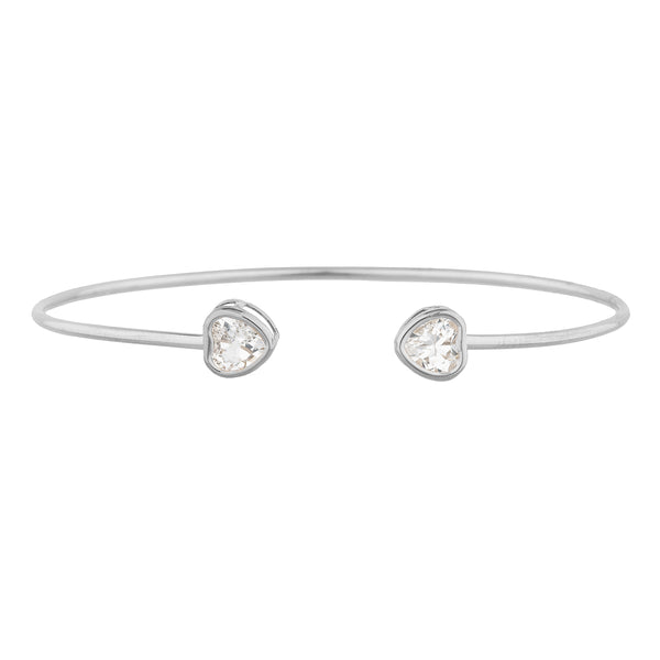 2 Ct Cubic Zirconia Heart Bezel Bangle Bracelet .925 Sterling Silver