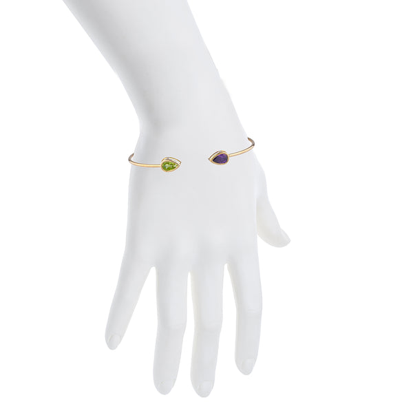 Peridot & Amethyst Pear Bezel Bangle Bracelet 14Kt Yellow Gold Plated Over .925 Sterling Silver