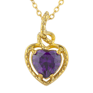 14Kt Gold Amethyst Heart Design Pendant Necklace