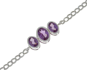 3.5 Ct Alexandrite Oval Bezel Bracelet .925 Sterling Silver Rhodium Finish