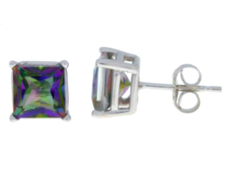 2 Ct Natural Mystic Topaz Princess Cut Stud Earrings 14Kt White Gold
