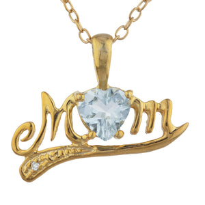 14Kt Yellow Gold Plated Genuine Aquamarine & Diamond Heart Mom Pendant