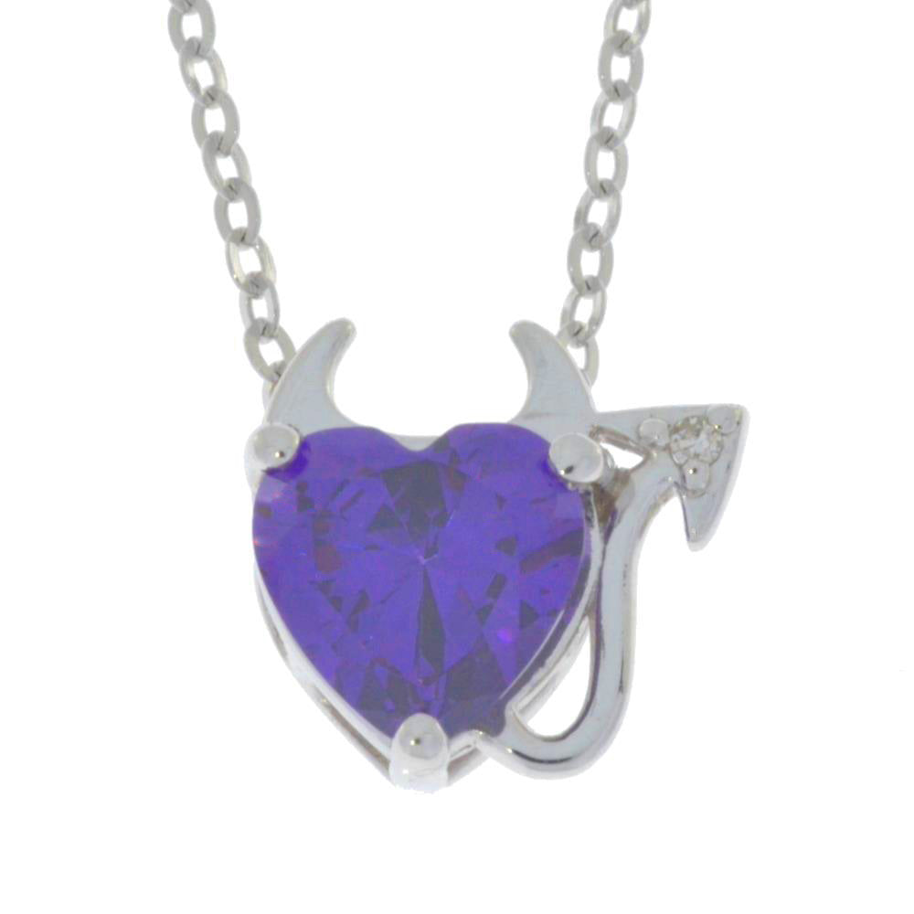 1.5 Ct Amethyst & Diamond Devil Heart Pendant .925 Sterling Silver