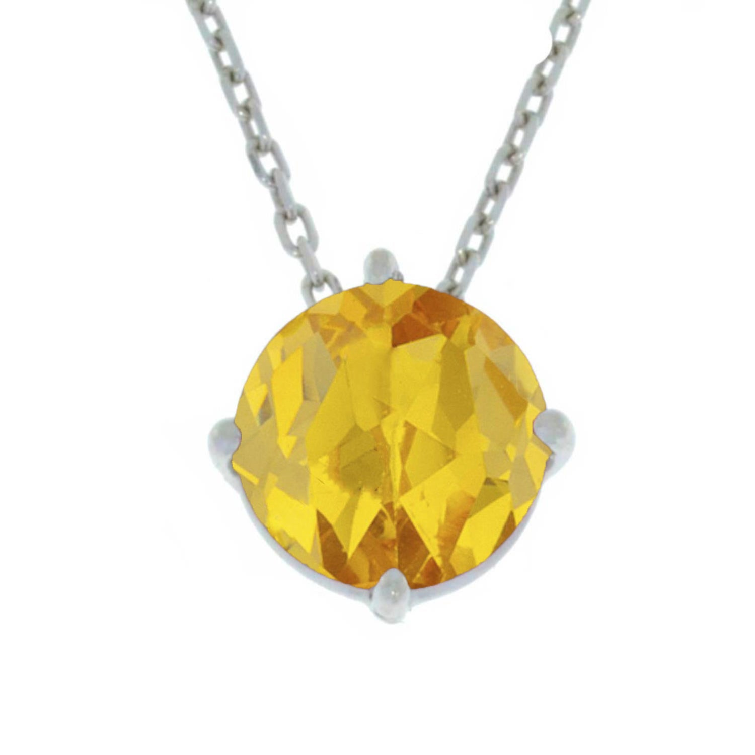 14Kt Gold Yellow Citrine Round Pendant Necklace