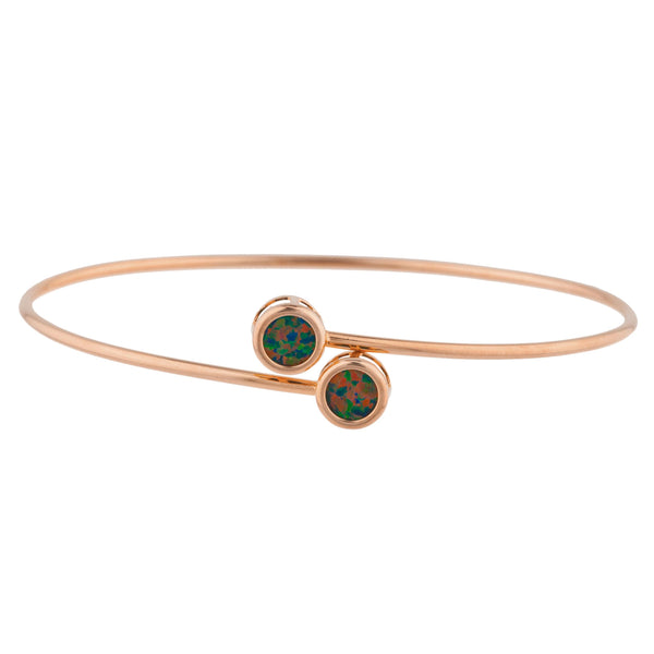 14Kt Rose Gold Plated Black Opal Round Bezel Bangle Bracelet
