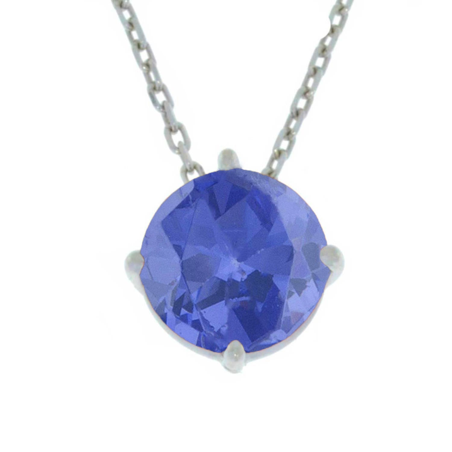 14Kt Gold Tanzanite Round Pendant Necklace
